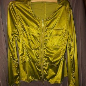 Jackets & Blazers - Green satin moto jacket